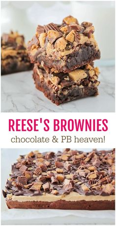 These Reese's Brownies are the epitome of the chocolate and peanut butter heaven!! With a rice brownie base, peanut butter buttercream and a topping of chopped Reese's and chocolate, you really can't go wrong with this decadent dessert.