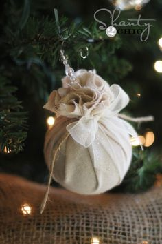 With a little fabric, twine, and ribbon you can create this festive, shabby chic look.                                                                                                                                                                                 More
