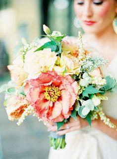 Unique Bridal Bouquets - Gorgeous green, ivory and peach wedding bouquet