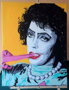 """Dr. Frank N Furter (Rocky Horror / Tim Curry) Original Pop Art PAINTING!  16""""x20"""" by Jamie Roxx (www.JamieRoxx.us) 2015 acrylic and oil blend #PopArt"""