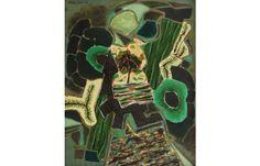 Ion Alin Gheorghiu Emerald green (Suspended garden)  [1981]  Oil on canvas 60.5 × 49.5 cm (23.8 × 19.5 inch) Estimate €2,000 - €3,000  http://lavacow.com/emerald-green.html
