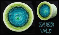 Zauberwald: Hochbauschacryl nur 4 fädig wickelbar 8 Farben+ Beilauffaden Grün Mix durchgehend eisblau oceangrün petrol dunkelgrün froschgrün apfelgrün heller Apfel lindgrün