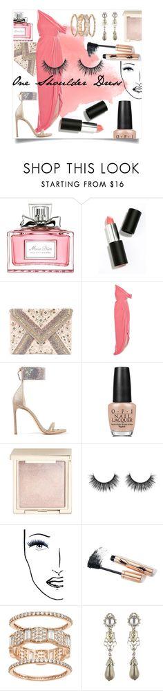 """One Shoulder Dress"" by alrdesign ❤ liked on Polyvore featuring Christian Dior, Sigma Beauty, LULUS, Monse, Stuart Weitzman, OPI, Jouer, Black Magic Lashes and Oscar de la Renta"