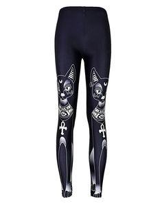 Womens Cute Long Ears Cat Print Tight Pants Black Fashion Leggings