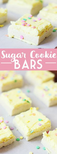 Sugar Cookie Bars - Sugar cookie bars are great for serving a crowd. They're soft and chewy and the frosting is to die for! Plus, they're quicker to make than their individually-portioned sugar cookie counterparts.   halfscratched.com #cookie #dessert