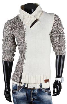 TAZZIO Herren Pullover Grobstrick Sweatshirt Strickjacke: Amazon.de: Bekleidung