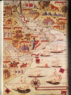 ATLANTE NAUTICO di LOPO HOMEM. 1519 circa, Parigi, B. N., rés. Ge DD 683. (Kish 1980, tav. 55)