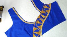 Easy and simple blouse back neck designing Churidar Neck Designs, Saree Blouse Neck Designs, Neckline Designs, Dress Neck Designs, Choli Designs, Sari Blouse, Patch Work Blouse Designs, Simple Blouse Designs, Stylish Blouse Design