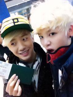 Bang Yongguk & Zelo(both from B.A.P.) at the airport