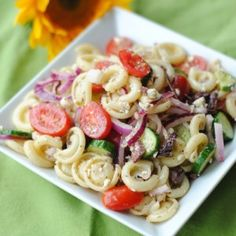 Greek Pasta Salad   ***tested, family approved & potluck approved!!***