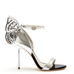 Silver mirror leather sandal with butterfly back and silver pin heel.#prom