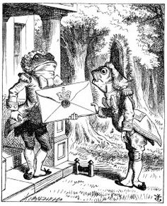 Fish footman giving a letter to the frog footman, from _Alice's Adventure's in Wonderland_. Illustration by Sir John Tenniel (1822-1914), 1865. From Wikimedia Commons.