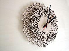 Laser cut wall clock - Giraffe - MEDIUM - laser cut wood - voronoi pattern