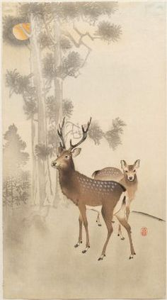 Two deer, pine and moon      Japanese, Meiji era, beginning of 20th century     Artist Ohara Koson, Japanese, 1878–1945