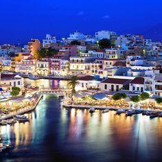 """An amazing night in the coastal town of Agios Nikolaos #Crete #VisitGreece #Greece #destinations #travel"""