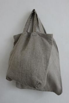 Owen and Hunter | Grey linen bags | Shopping tote sack