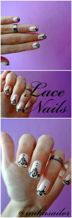Easy Quick Simple Lace Nail Design Tutorial video
