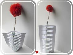Vase made from glass bottle and paper.                                Gloucestershire Resource Centre http://www.grcltd.org/scrapstore/