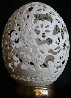 Ostrich Egg Art by Cheryl Collins