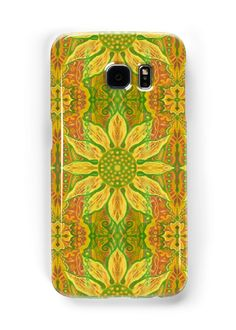 """""""Sun Flower, bohemian floral pattern, yellow, green & orange"""" Samsung Galaxy Cases & Skins by clipsocallipso 
