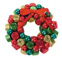 would make a cute favor for the christmas party if you can get Rolo's cheap enough and make them small enough!    Christmas Chocolate Wreath
