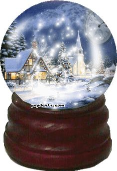 love snow globes this looks like a Thomas Kinkaid picture...