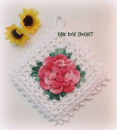 Pega Panelas Quadrado com Flor Pink
