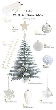 Ideas on decorating a flocked artificial tree with white ornaments by My Paradissi