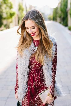 holiday outfit with pretty lace dress