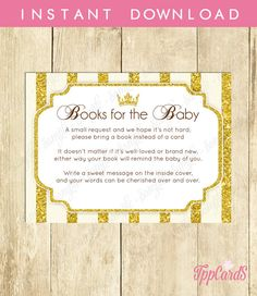 Instant Download Gold Princess Book Request Glitter Gold Crown Book in Lieu of Card Gold Royalty Baby Shower Book Instead of Card by TppCardS #tppcards