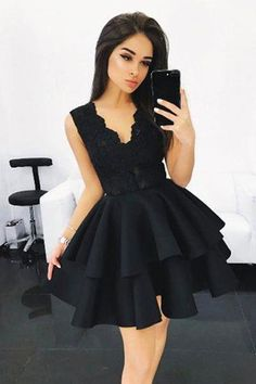 V-neck Prom Dresses Short Prom Dresses Lace Homecoming Dress Black Prom Dresses Sleeveless Homecoming Dress Prom Dresses 2019 Lace Homecoming Dresses, V Neck Prom Dresses, Black Prom Dresses, Grad Dresses, Knee Length Dresses, Sexy Dresses, Cute Dresses, Dress Prom, Pretty Black Dresses