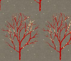 I feel a new winter theme brewing...tree_linen fabric by holli_zollinger on Spoonflower - custom fabric