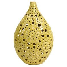 Add a splash of citrus to your living room or bedroom with this spring-ready vase.Product: Vase Construction Material: Ceramic Color: Yellow Features:Will enhance any decor Perfect for your foyer, mantel or bookshelf Dimensions: 22 H x 6 Diameter Mellow Yellow, Color Yellow, Yellow Vase, Colour, Bright Yellow, Cut Out Design, Construction Materials, Ceramic Vase, My New Room