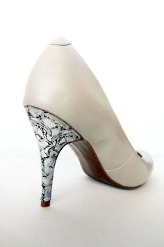 4f4afef35591 DIY Silver Lace Holiday Heels - CLOTHING - This delicate lace heel looks  great for the holidays