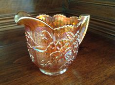 Carnival Glass Creamer with Flowers