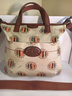 FOSSIL KEY-PER  Multi- Color Coated Canvas Leather Trim Crossbody Bag Purse #Fossil #MessengerCrossBody