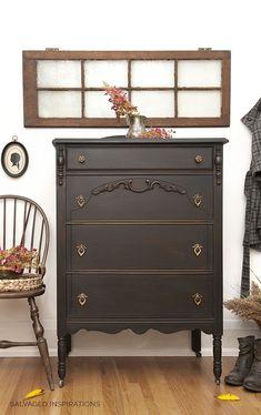 Dixie Belle Caviar Black Painted Vintage Dresser