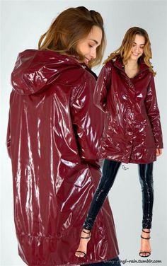 Vinyl Rain Plastic Raincoat, Yellow Raincoat, Plastic Pants, Vinyl Clothing, Rainy Day Fashion, Rubber Raincoats, Yellow Coat, Rain Wear, Leather Jacket