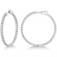Stylish Large Round Diamond Hoop Earrings 14k White Gold (2.00ct) - allurez.com