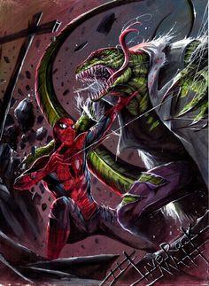 Spider- man vs. Lizard by Francesco Mattina, in Wolfgang Bertram's Another Gallery... Comic Art Gallery Room