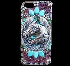 Western Bling Horse Phone Case with Turquoise, Rhinestones, and Garnets