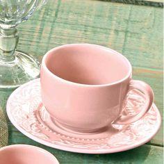 Encante-se pelo charme e delicadeza do Conjunto de Xícaras de Chá Acanthus Rosa, da Porto Brasil! 💕