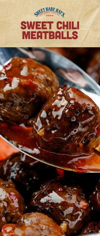 Sweet Chili Meatballs Sweet Chili Glazed Meatballs using Sweet Baby Ray's Sweet Chili Wing Sauce & Glaze Meatball Recipes, Meat Recipes, Cooker Recipes, Appetizer Recipes, Crockpot Recipes, Meat Appetizers, Recipies, Meatball Soup, Sandwich Recipes