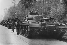 25th October 1962: American tanks on alert in the Berlin Grunewald, West Germany, as the crisis over the Cuban blockade looms during the Cuban missile crisis.