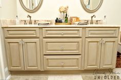 Inspiration Galleries | Annie Sloan Unfolded. Boring stock bathroom vanity gets some depth.