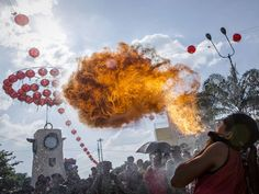 15 February 201515 February 2015 A participant breathes fire during a parade at the Grebeg Sudiro festival in Solo City, Central Java, Indonesia. The Grebeg Sudiro festival represents a harmonious relationship between the Chinese and Javanese communities Ulet Ifansasti/Getty Images