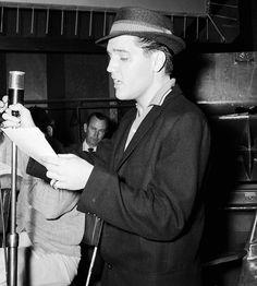 "vinceveretts: "" Elvis photographed during the G.I. Blues soundtrack recording session, April 1960. """