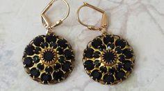Black Crystal Rhinestone Earrings  Crystal by ArtistInJewelry