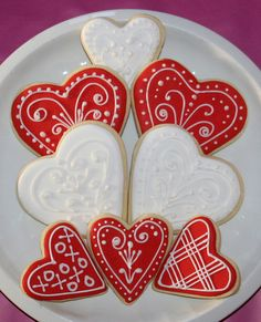 Valentine Cookies piped, red and white.