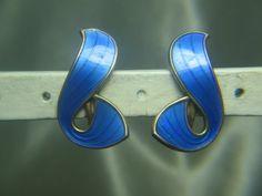 IVAR HOLT-NORWAY STERLING SILVER & BLUE ENAMEL SCREW ON EARRINGS | eBay